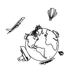 monochrome contour of world with means of vector image