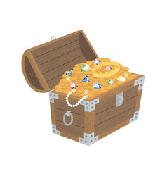 opened wooden chest with treasures vector image
