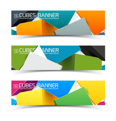 colorful cubes banners set vector image