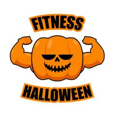 Fitness halloween pumpkin with muscles vegetable vector