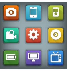 Flat icon set White Symbols Device vector image vector image