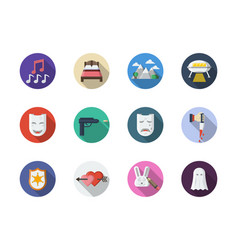 movie genres flat round color icons set vector image
