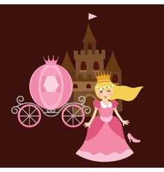 Princess cinderela with shoes carriage and castle vector