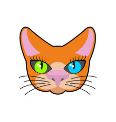 red-headed cat face isolated pet on green vector image vector image