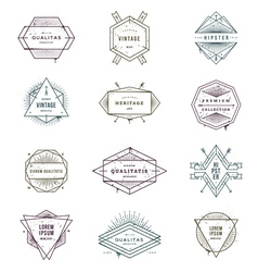 Set of grunge hipster signs and emblems vector image