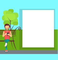 spending time in park conceptual banner with man vector image vector image