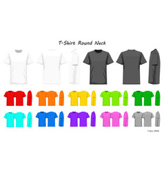 t-shirt round neck color collection set for your vector image