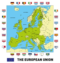 The european union map with flags vector image vector image