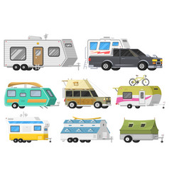 A set of trailers or family rv camping caravan vector