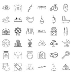 Ancestral icons set outline style vector