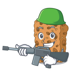 Army granola bar character cartoon vector