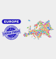 assembly europe map and distress european standard vector image