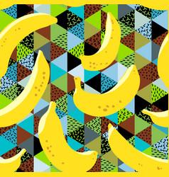 banana seamless pattern yellow banana fruits on vector image