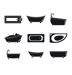 Bathtub interior icons set simple style vector