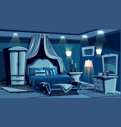 Bedroom in night with lamps light vector