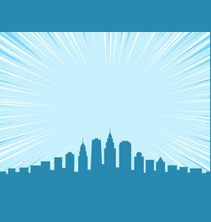 Big city comic cartoon style background vector