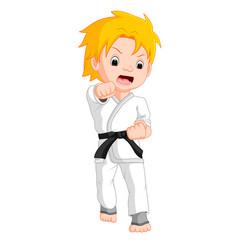Boy karate player cartoon vector