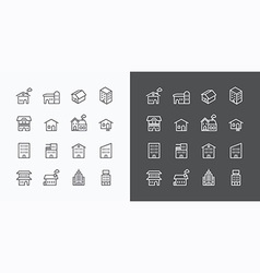 Buildings Collection icons set flat line design fo vector