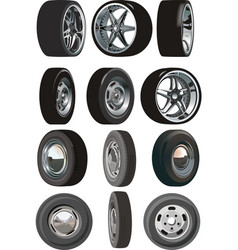 Car wheels set vector