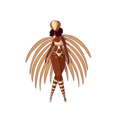Carnival girl in bikini with feathers and vector