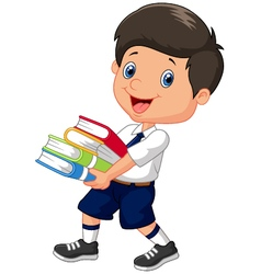 Cartoon boy holding a pile of books vector