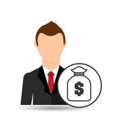 Cartoon business man bag money save icon desing vector