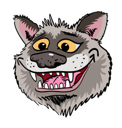 Cartoon image grinning wolf face vector