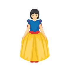 cartoon of girl wearing the princess dress vector image