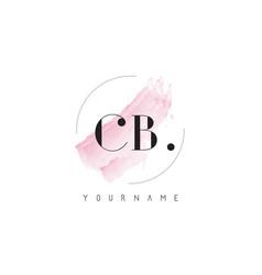 Cb watercolor letter logo design with circular vector