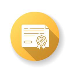 certificate yellow flat design long shadow glyph vector image