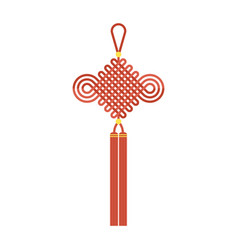 Chinese knot with tassel using in lunar new year vector