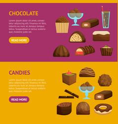 chocolate sweets banner horizontal set vector image