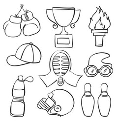 Collection sport equipment hand draw doodles vector