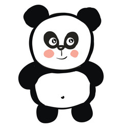 cute black and white panda smiling on white vector image