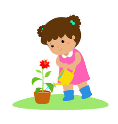 Cute cartoon girl watering plant vector