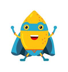 Cute cartoon smiling lemon superhero in mask and vector