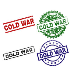 Damaged textured cold war seal stamps vector