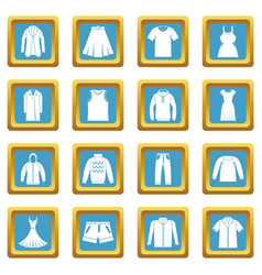 Different clothes icons azure vector