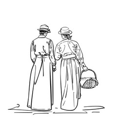 drawing two girls in old-fashion retro dress vector image