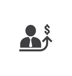 Employee salary increase icon on white background vector