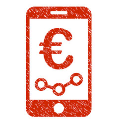 euro mobile report icon grunge watermark vector image