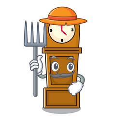 Farmer grandfather clock character cartoon vector