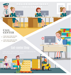 flat call centers template vector image