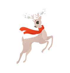 flat christmas reindeer in red scarf vector image