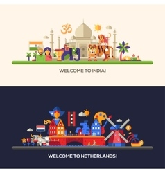 Flat design Holland India travel banners set vector