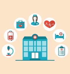 Flat trendy icons hospital and another medical vector