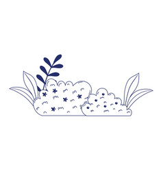 Flowers bushes foliage nature isolated icon design vector