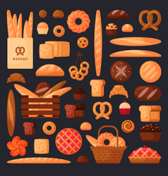fresh bread and pastries in flat style vector image