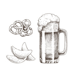 Frothy alcohol beverage in glass and tasty snack vector