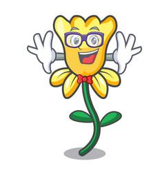 Geek daffodil flower character cartoon vector